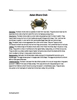 Asian Shore Crab - Invasive species - Article Questions Vo
