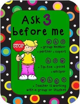 Colored Polka Dots Ask 3 Sign