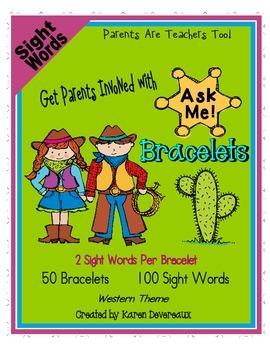 Ask Me! Bracelets - SIGHT WORDS - Get Parents Involved!  -