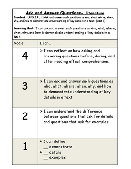 Ask and Answer Questions Literature Marzano Scale (RL