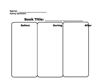 Asking Questions Graphic Organizer Reading Comprehension Strategy
