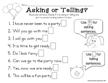 {Freebie!} Asking and Telling Sentences with Elephant and Piggie