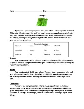 Asparagus - all the facts - review questions vocabulary wo