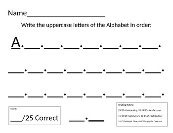 Assess Letter Writing & Beginning Sound Knowledge/Rubric included