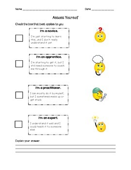 Assess Yourself: Student self-assessment sheet