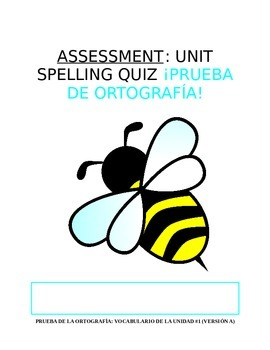 Assessment - All Levels: Spanish Spelling Quiz (with Bonus