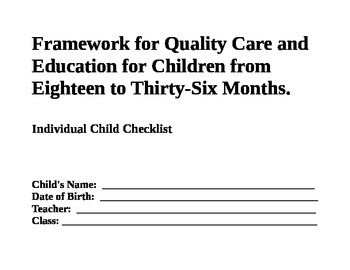 Assessment Checklist for 18 to 36 Months