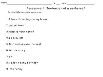 Assessment: Sentence or Not a Sentence