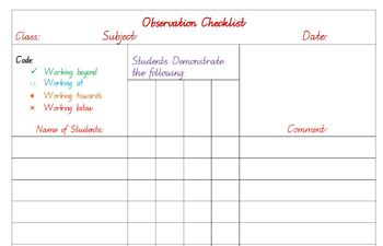 Assessment Tracking Tool: Observation Checklist