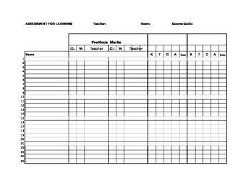 Assessment for Learning Marks List
