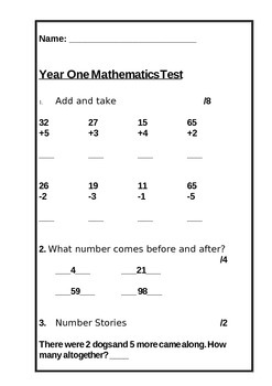 Math Test: Year One