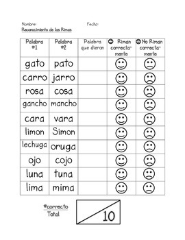 Assessment of Rhymes in SPANISH