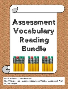Assessment reading vocabulary bundle
