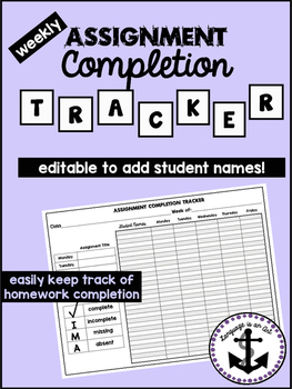 Assignment Completion Tracker Editable