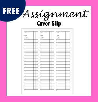 Assignment Cover Slip
