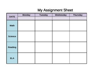 Student Assignment/Homework Sheet