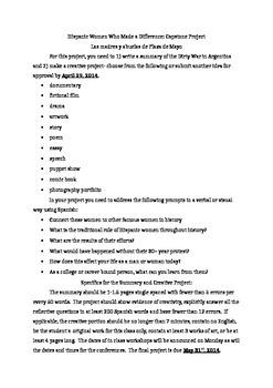 Assignment Sheet for Guerra Sucia Lesson Plan
