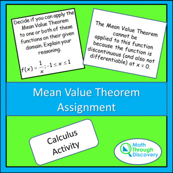 Mean Value Theorem Assignment