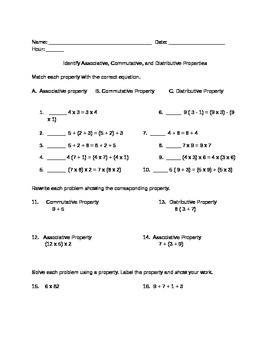 Associate, Distributive, Commutative Property worksheet