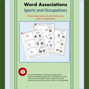 Association Cards for Sports and Occupation Vocabulary
