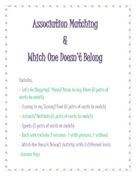 Association Matching & Which One Doesn't Belong Activities