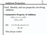 Associative & Commutative Properties, Terms