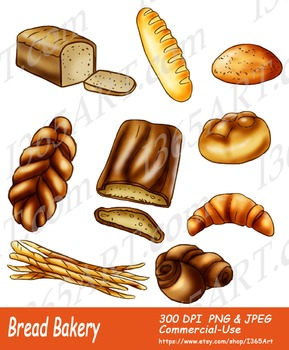 Assorted Breads Clipart 9 Pack Digital Graphics
