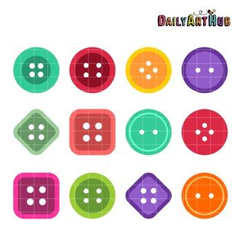 Assorted Buttons Art Clip Art - Great for Art Class Projects!