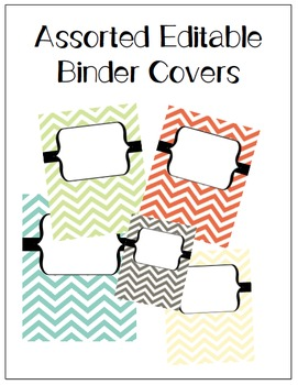 Assorted Editable Chevron Binder Covers