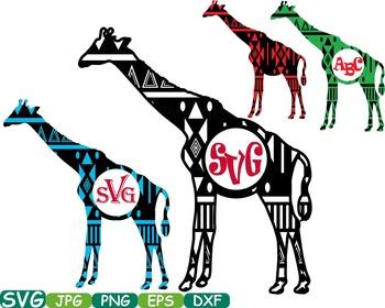 Aztec Giraffe Safari Monogram Circle Cutting Silhouette sc
