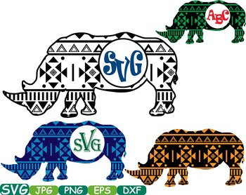 Aztec Rhino Safari Monogram Circle Cutting Silhouette scho