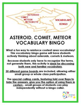 Asteroids Comets and Meteors Vocabulary Bingo