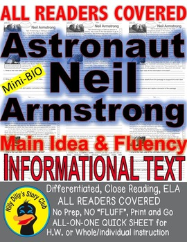 Astronaut Neil Armstrong Close Read 5 Levels Differentiate