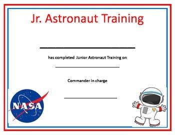 Astronaut Space Training Certificate
