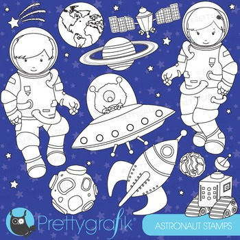 Astronaut space stamps commercial use, vector graphics, im