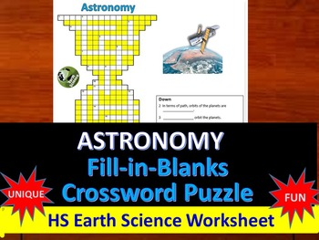 Astronomy - Fill-in-Blanks Review & Crossword Puzzle (Rege