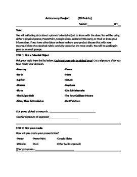 Astronomy: Planet Project/ Rubric