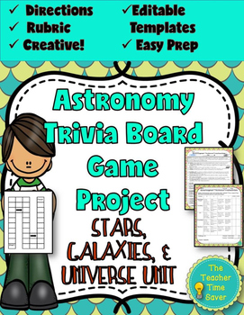 Astronomy Review- Trivia Board Game (editable board game t