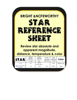 Astronomy Star Reference Sheet magnitude, temperature, col