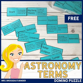 Astronomy Terms - Domino Puzzle (Space Exploration Vocabul