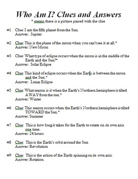 """Astronomy """"Who Am I"""" Review Game with Clues"""