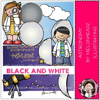 Melonheadz: Astronomy clip art - BLACK AND WHITE