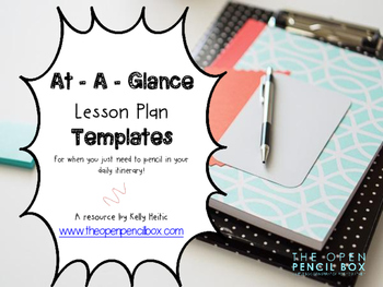 At A Glance Lesson Plan Pages