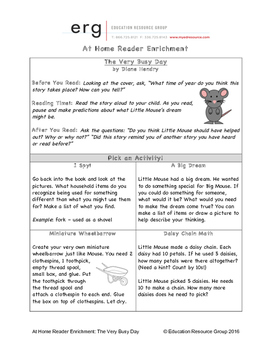 At Home Reader Enrichment - The Very Busy Day