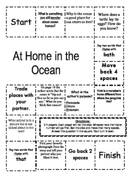 """""""At Home in the Ocean """" Comprehension Game Board- Journeys"""