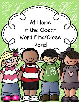 At Home in the Ocean Word Find/Close Read