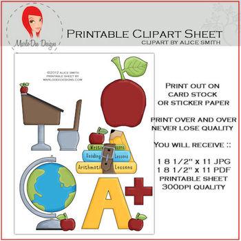 At School Set 1 Printable Graphics Sheet