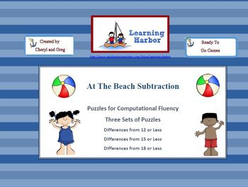 At The Beach Three Sets of Puzzles for Subtraction Practic