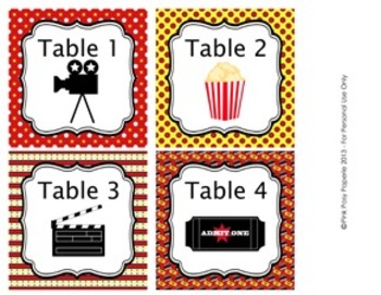 At The Movies Hollywood Classroom Decor Table Numbers