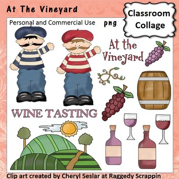 At The Vineyard clip art - personal & comm use wine grapes